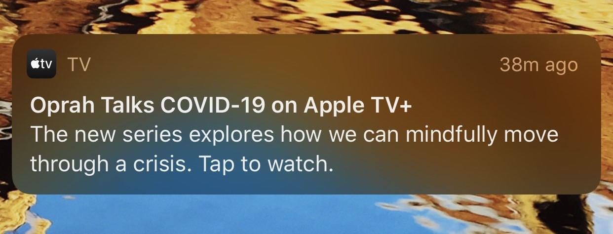 Screenshot of iOS notification from Apple TV+ about Oprah's COVID-19 specials
